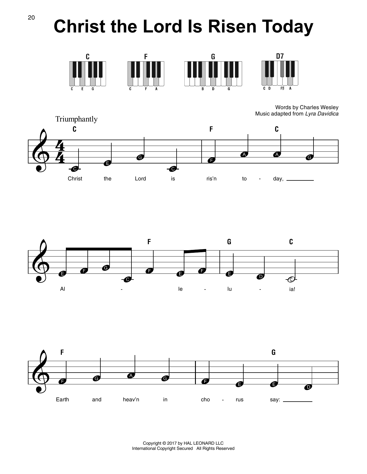 Christ The Lord Is Risen Today (Super Easy Piano)