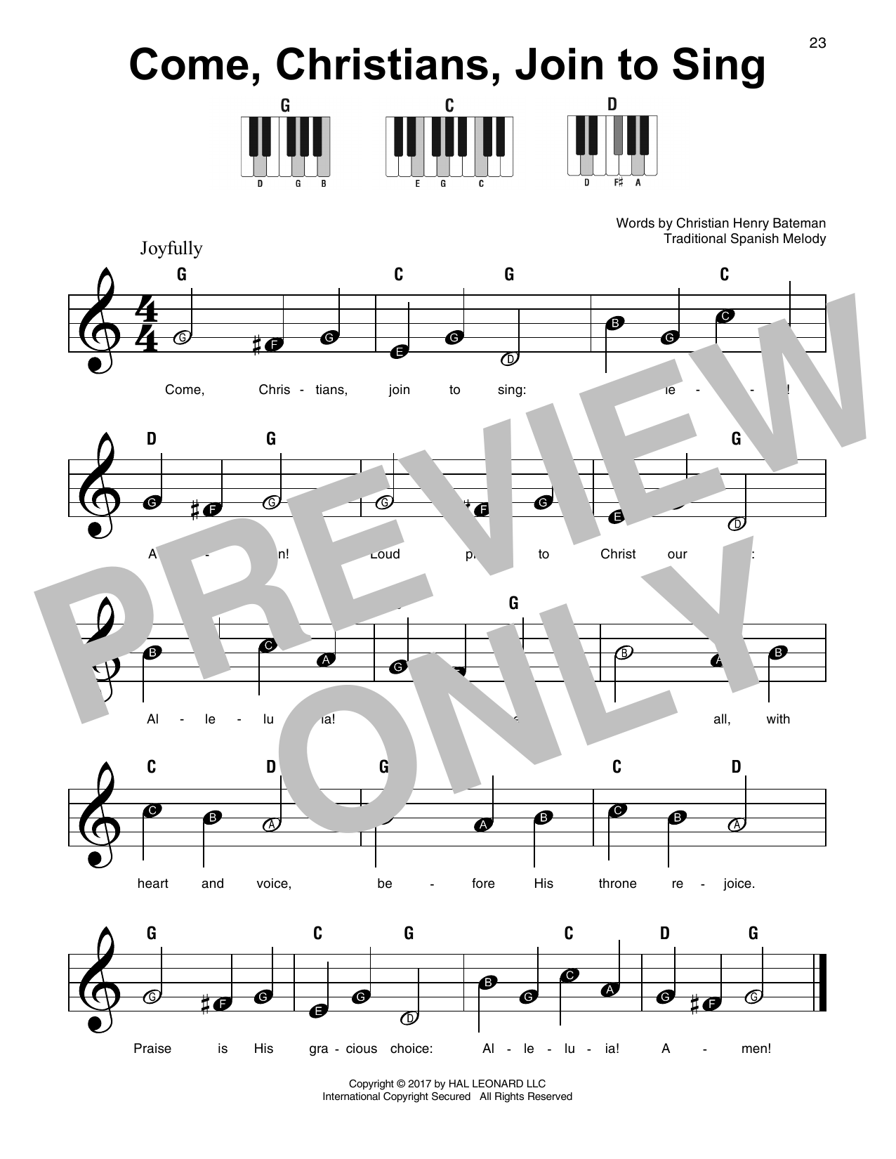 Come, Christians, Join To Sing Sheet Music