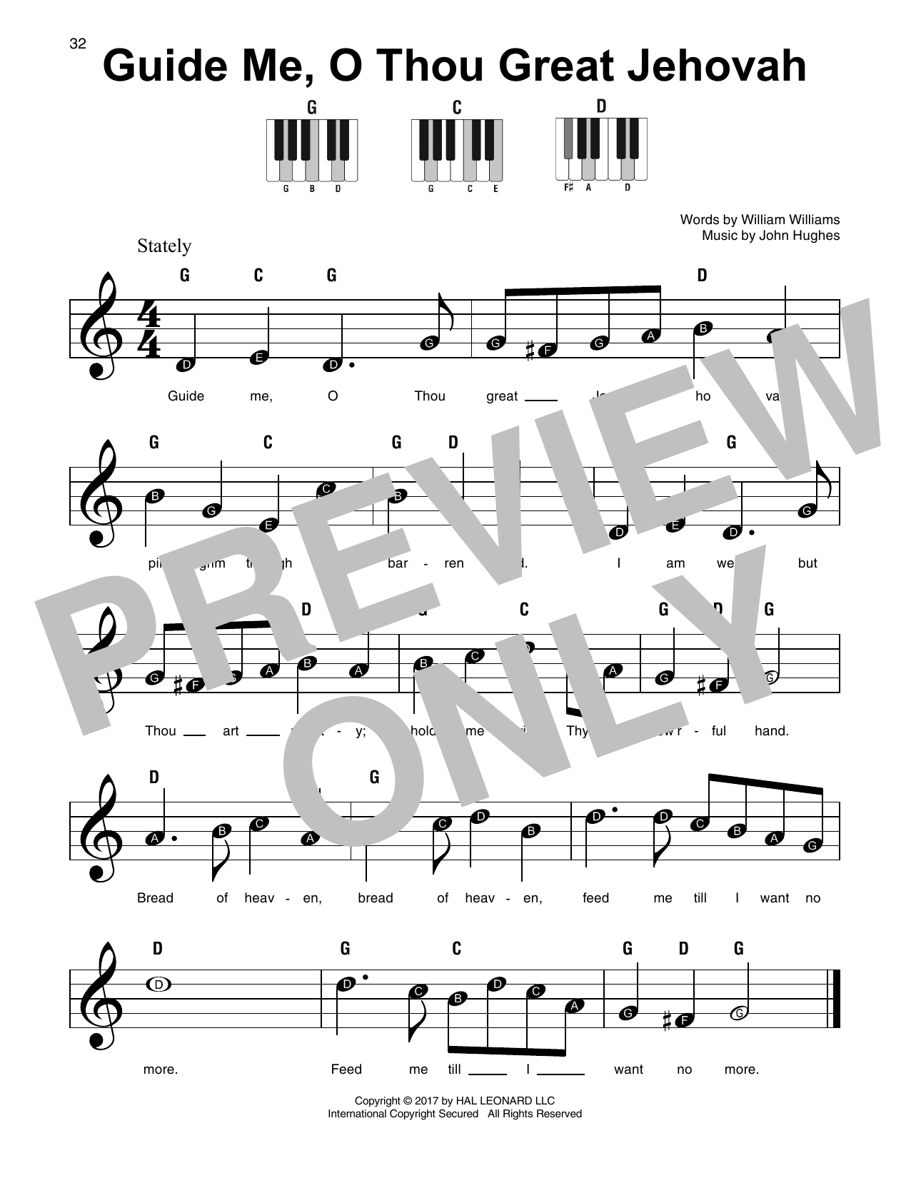 Guide Me, O Thou Great Jehovah (Super Easy Piano)
