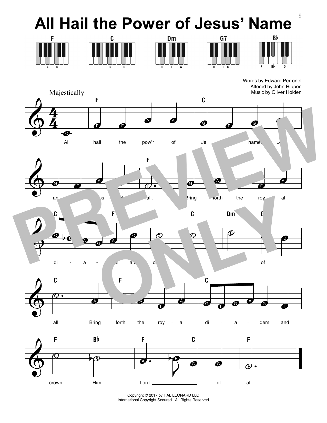 All Hail The Power Of Jesus' Name (Super Easy Piano)