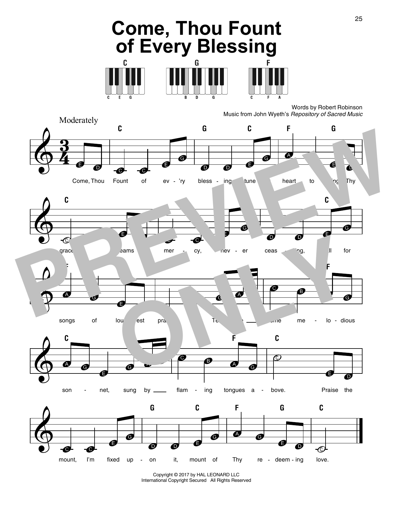 Come, Thou Fount Of Every Blessing (Super Easy Piano)