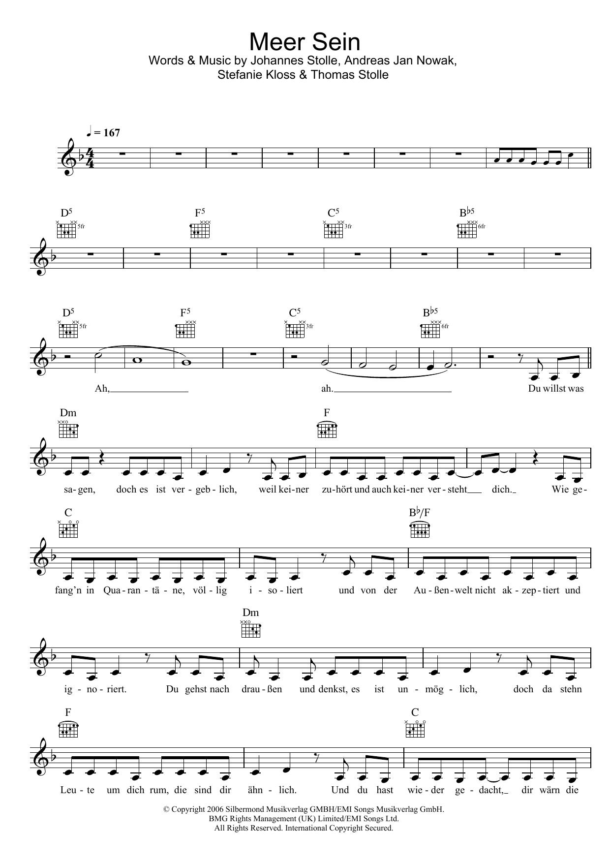 Meer Sein Sheet Music