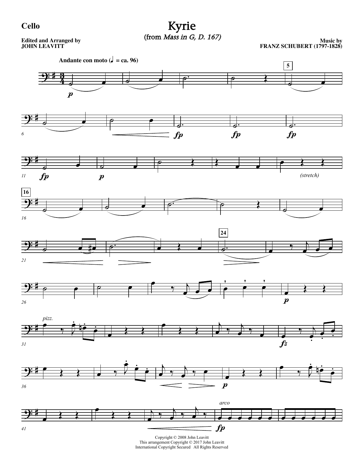 Kyrie (from Mass In G D. 167) - Cello Sheet Music