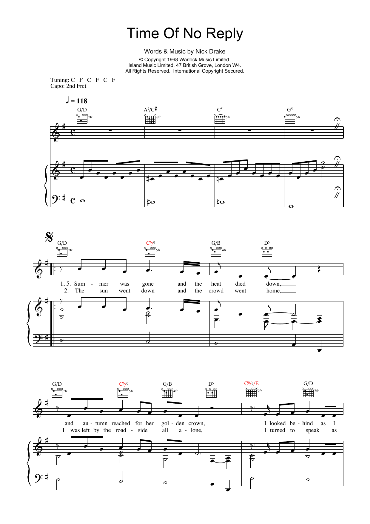 Time Of No Reply Sheet Music