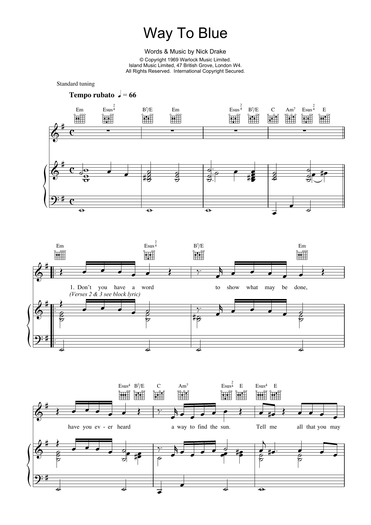 Way To Blue Sheet Music
