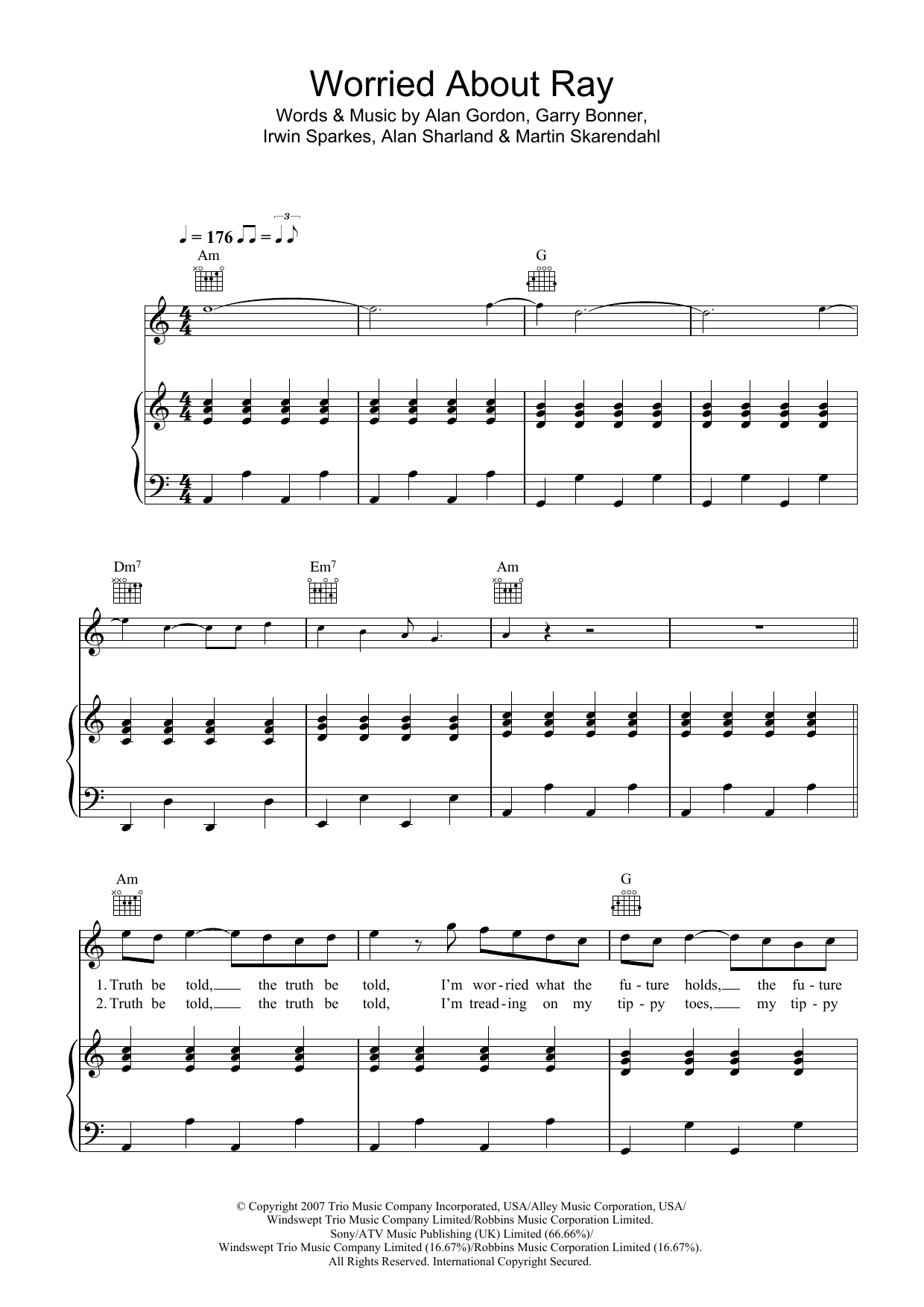 Worried About Ray Sheet Music