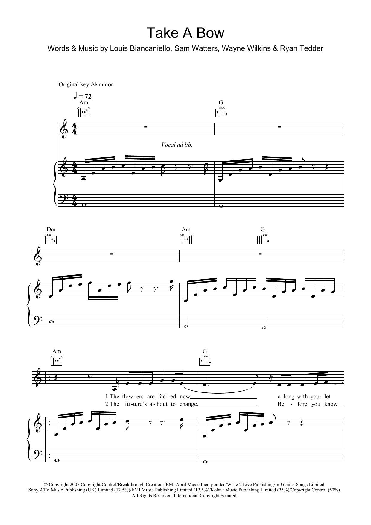 Take A Bow (Piano, Vocal & Guitar)