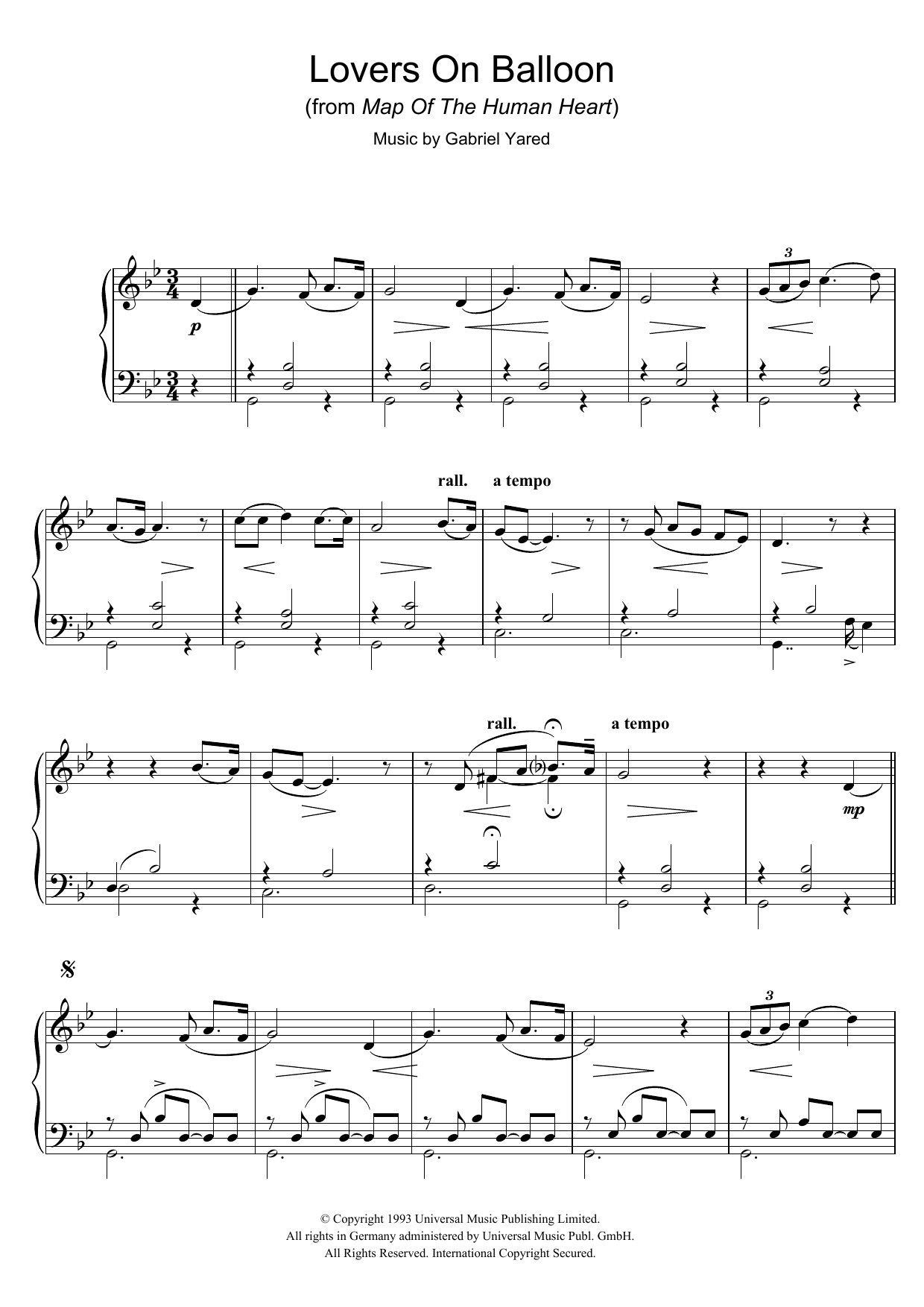 Lovers On Balloon (from Map Of The Human Heart) (Piano Solo)