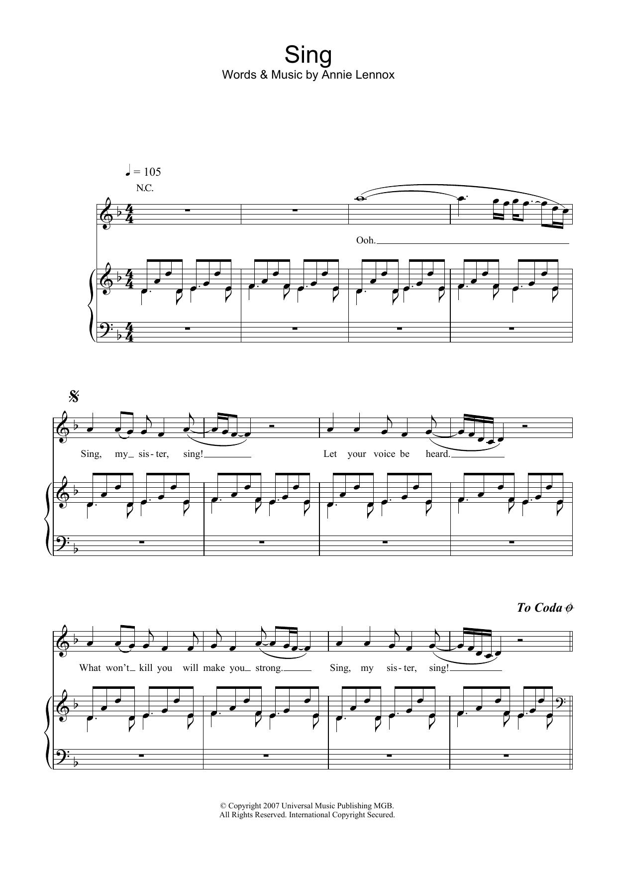 Sing (Piano, Vocal & Guitar)
