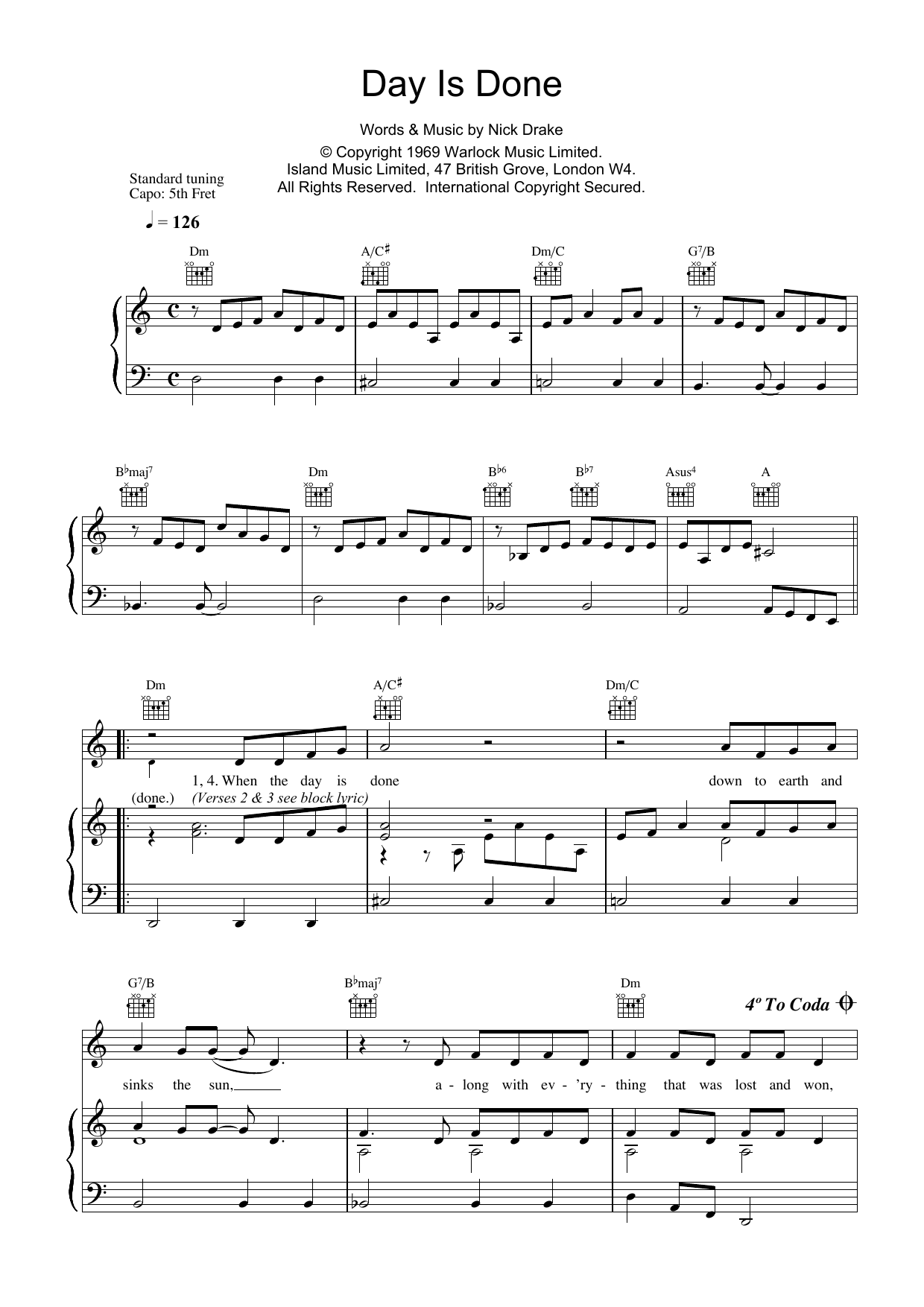 Day Is Done Sheet Music