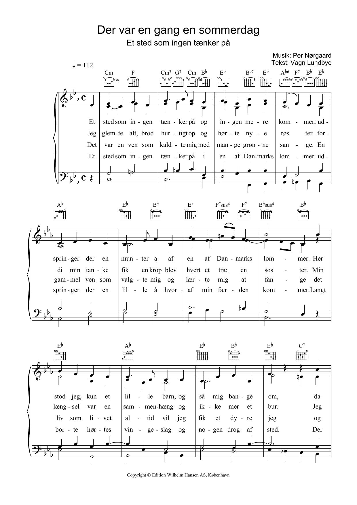 Der Var En Gang En Sommerdag (Piano, Vocal & Guitar)
