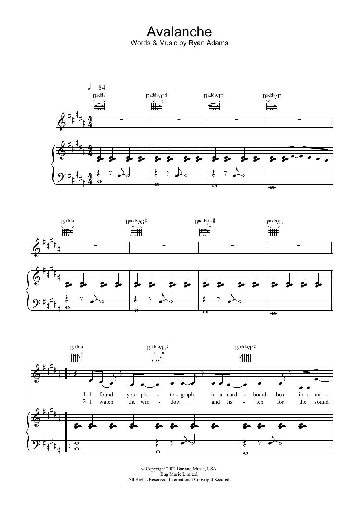 Avalanche (Piano, Vocal & Guitar)