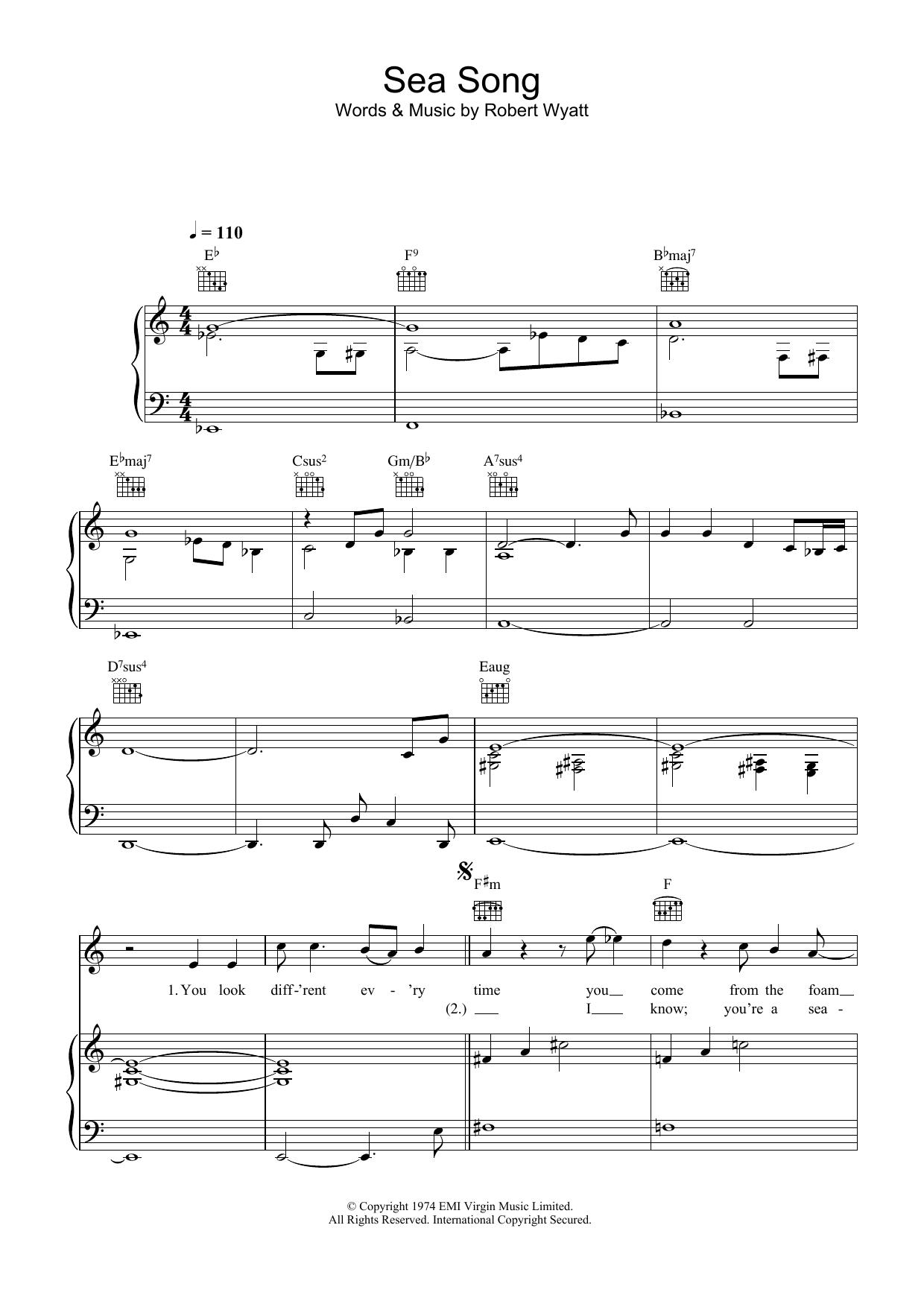 Sea Song (Piano, Vocal & Guitar)