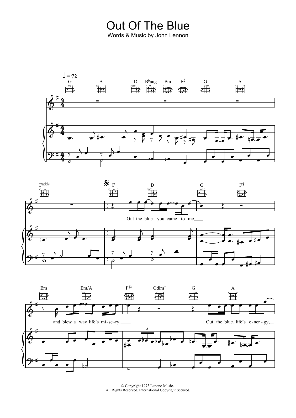 Out The Blue Sheet Music