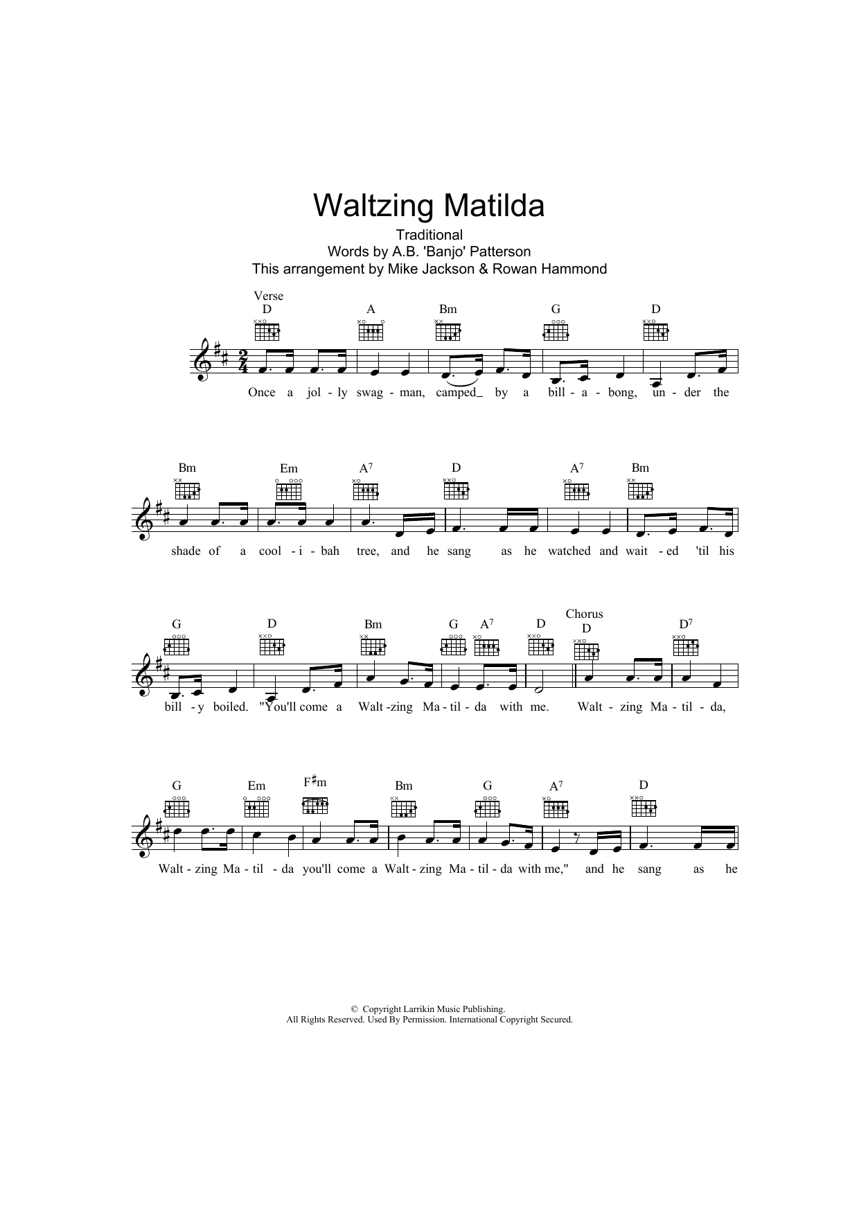 Waltzing Matilda Sheet Music Traditional Melody Line Lyrics
