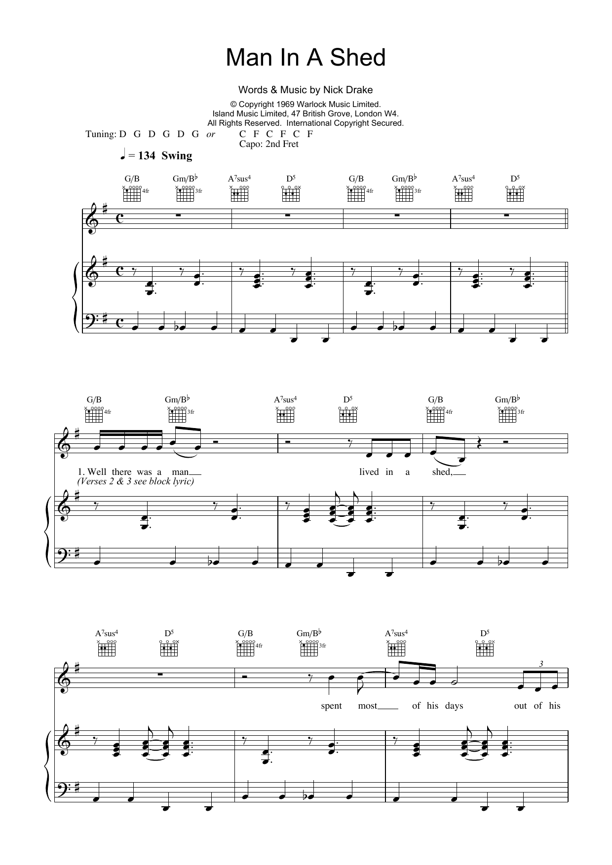 Man In A Shed Sheet Music