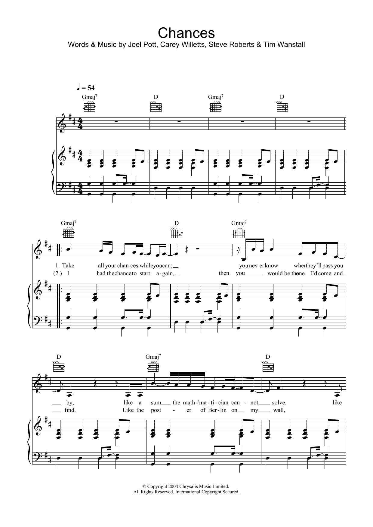 Chances Sheet Music
