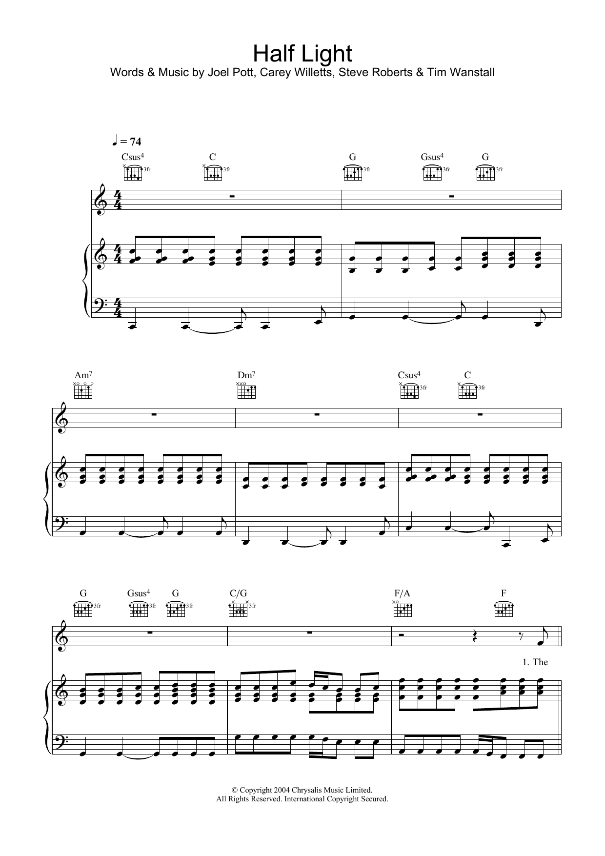 Half Light Sheet Music