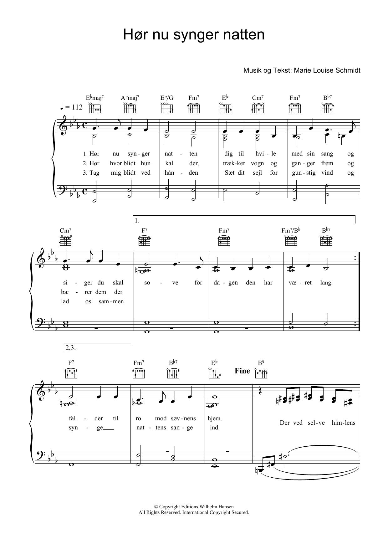 Hor Nu Synger Natten (Piano, Vocal & Guitar)