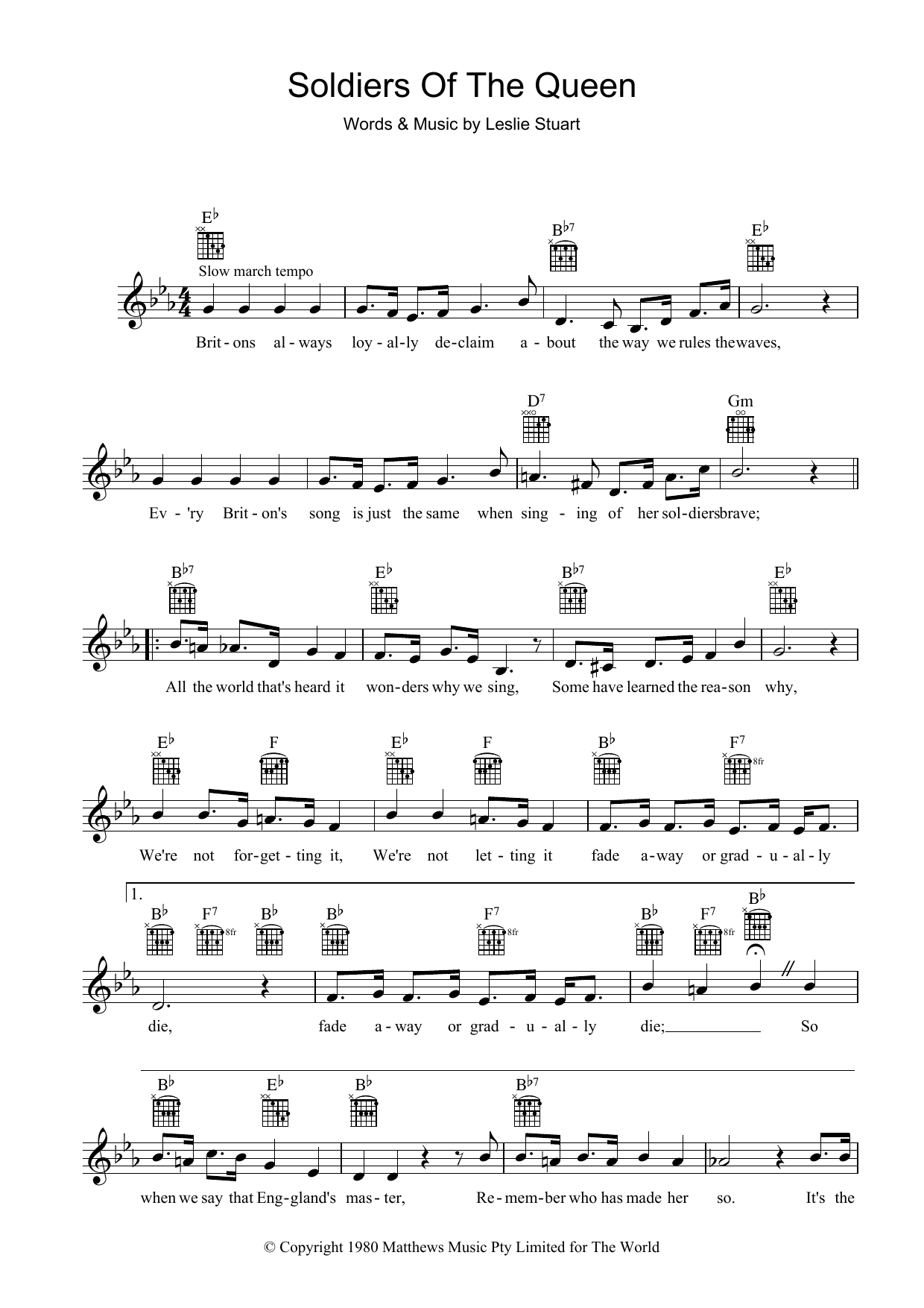 Soldiers Of The Queen Sheet Music