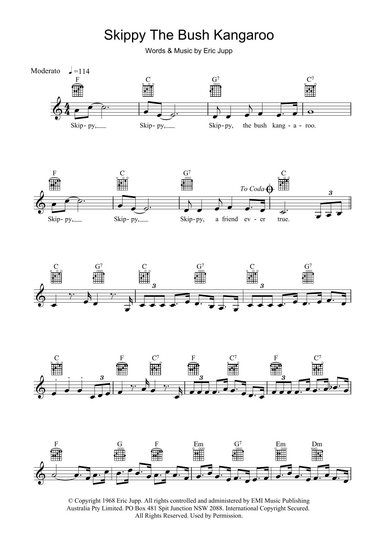 Skippy The Bush Kangaroo Sheet Music