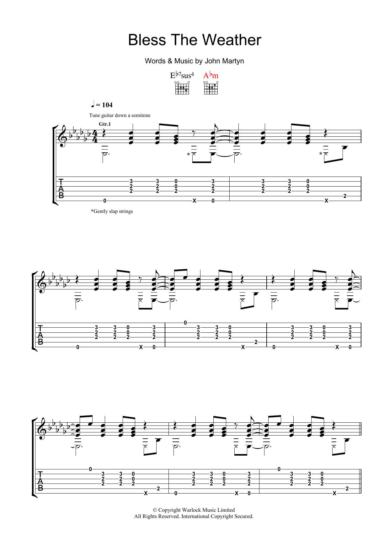 Bless The Weather (Guitar Tab)