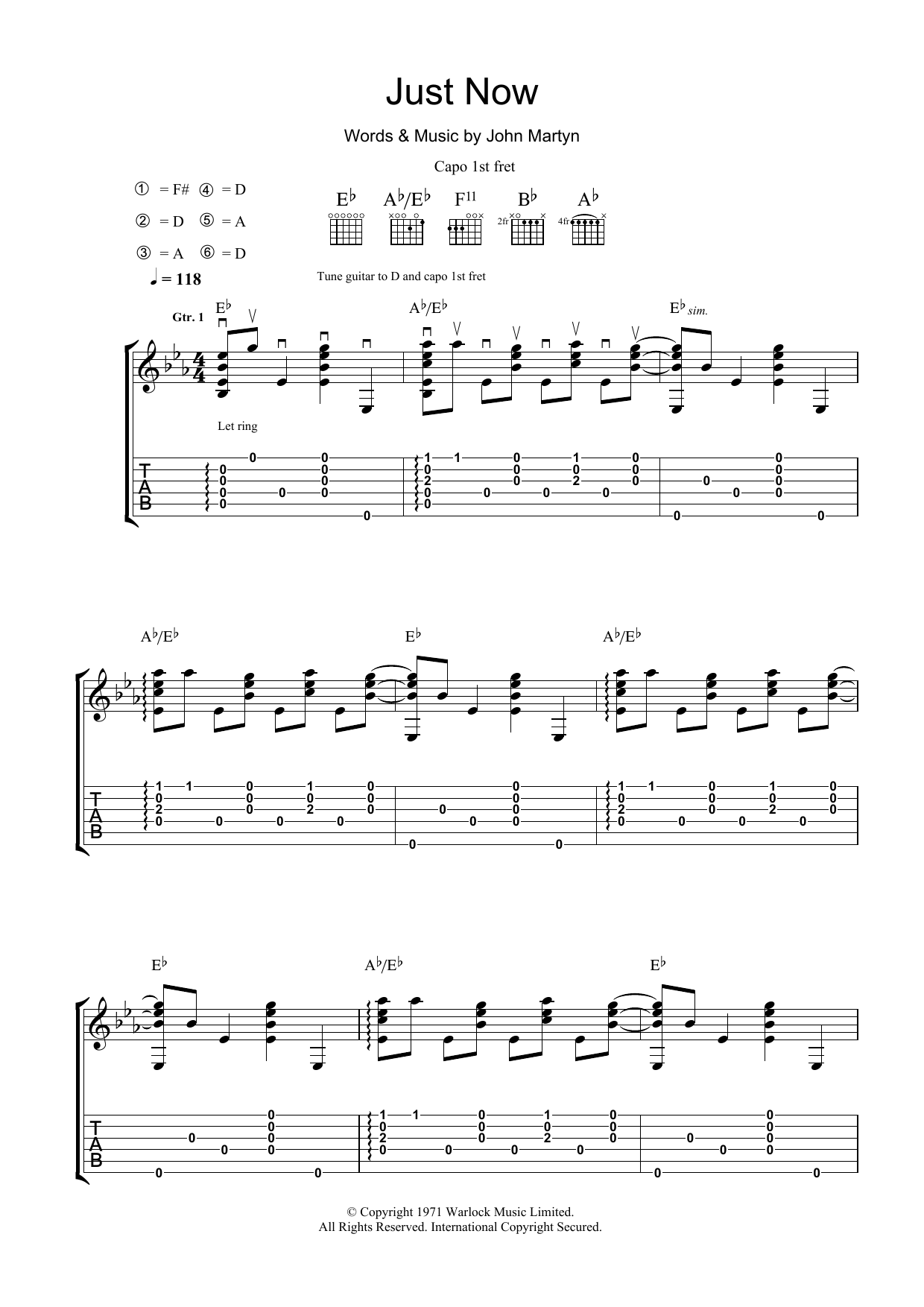 Just Now Sheet Music