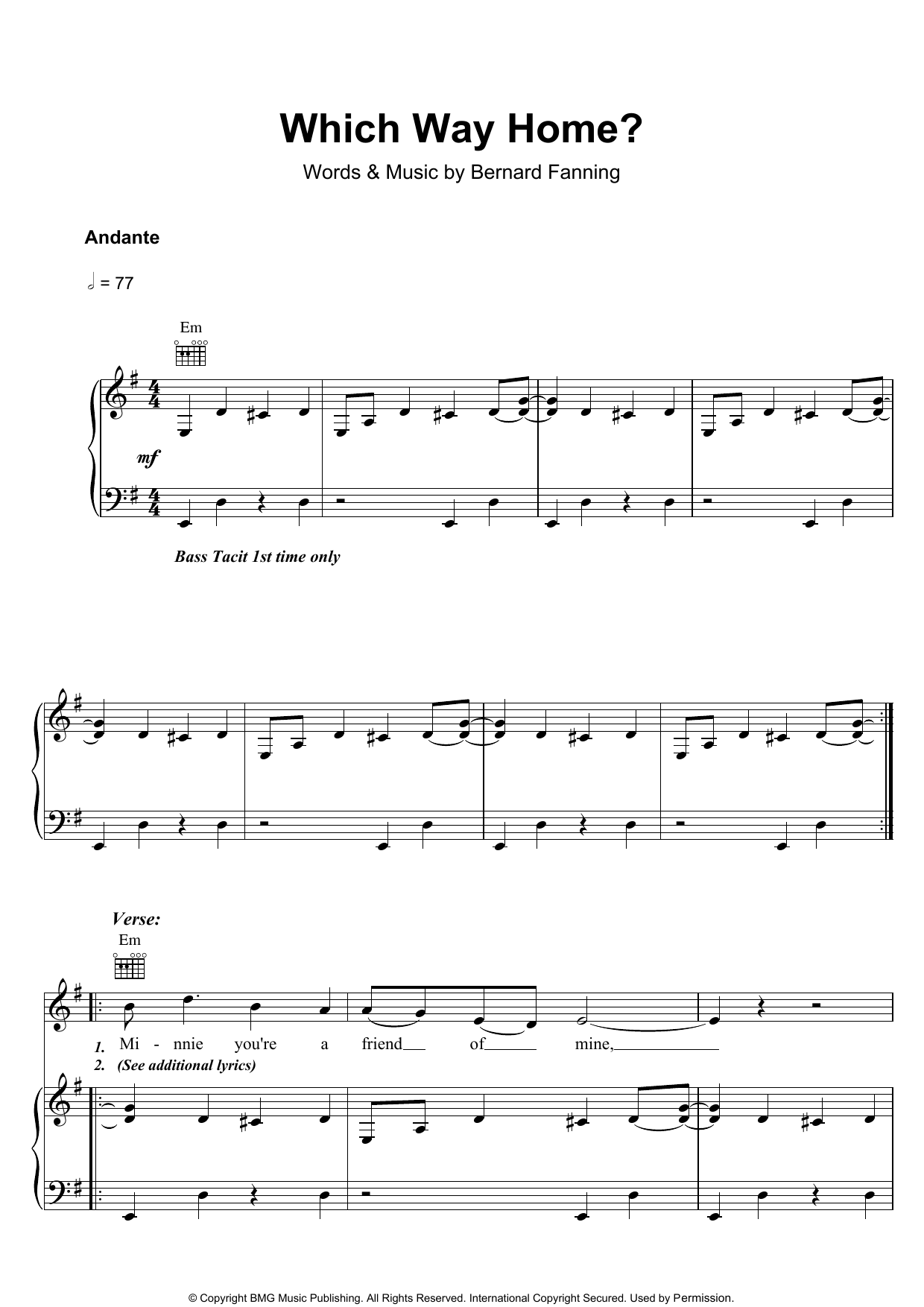 Which Way Home (Piano, Vocal & Guitar)