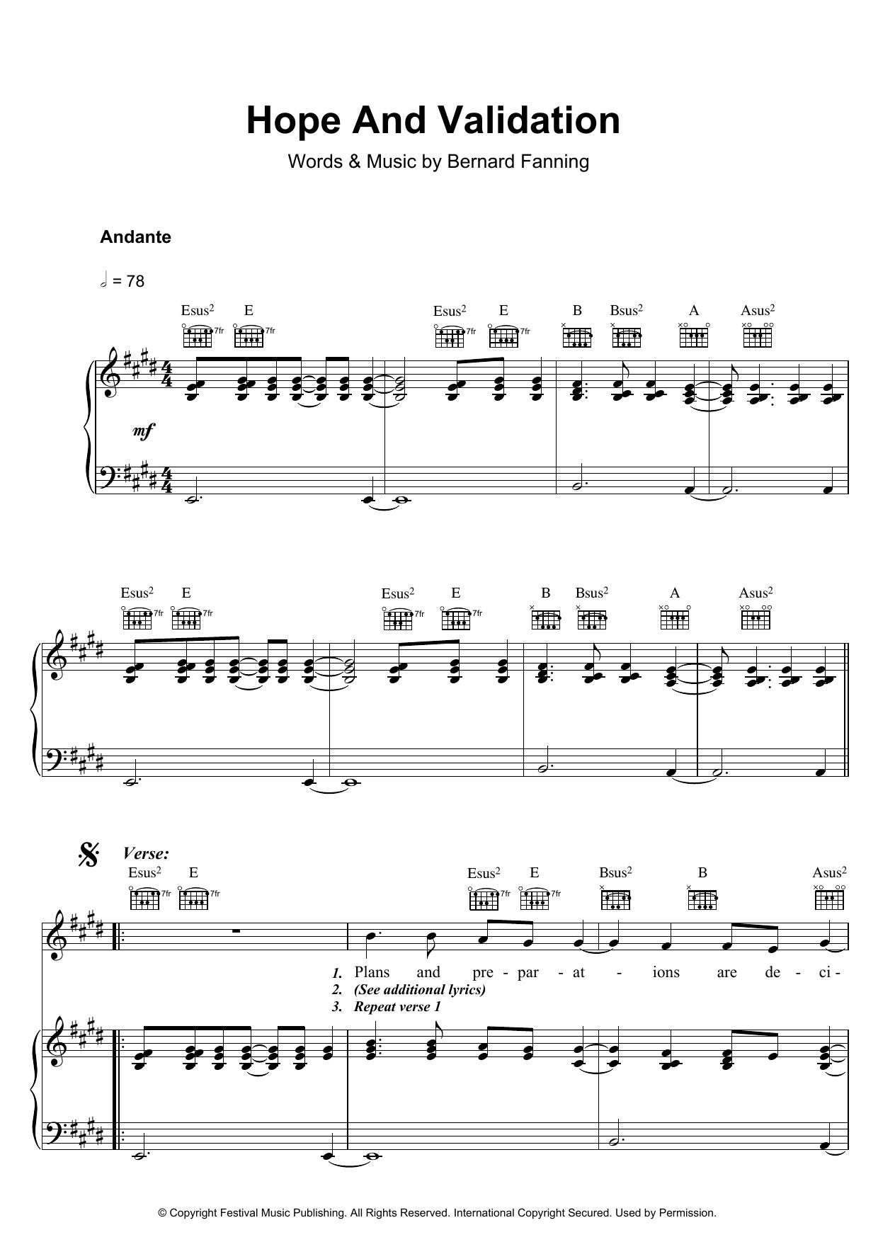 Hope And Validation Sheet Music