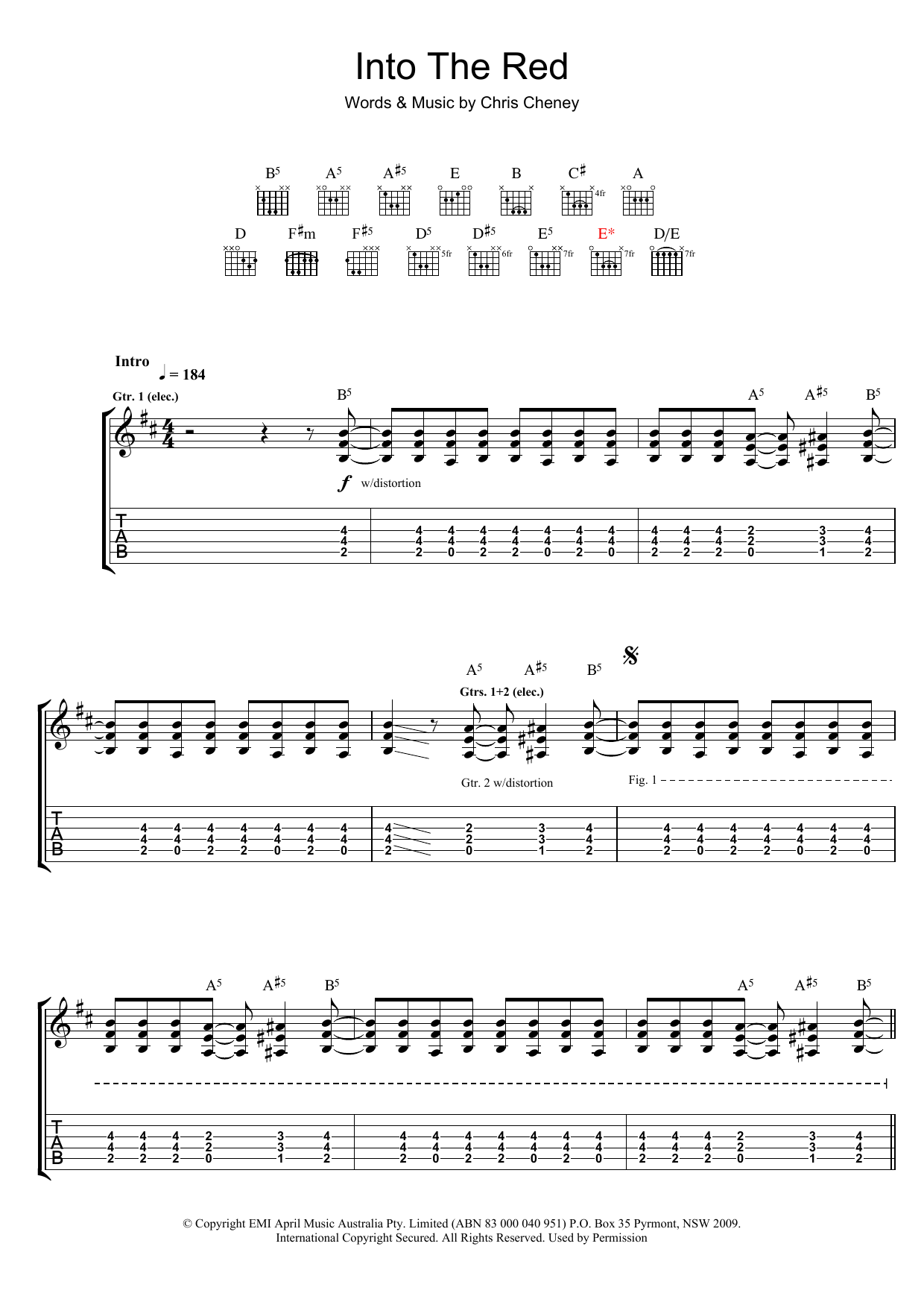 Into The Red (Guitar Tab)