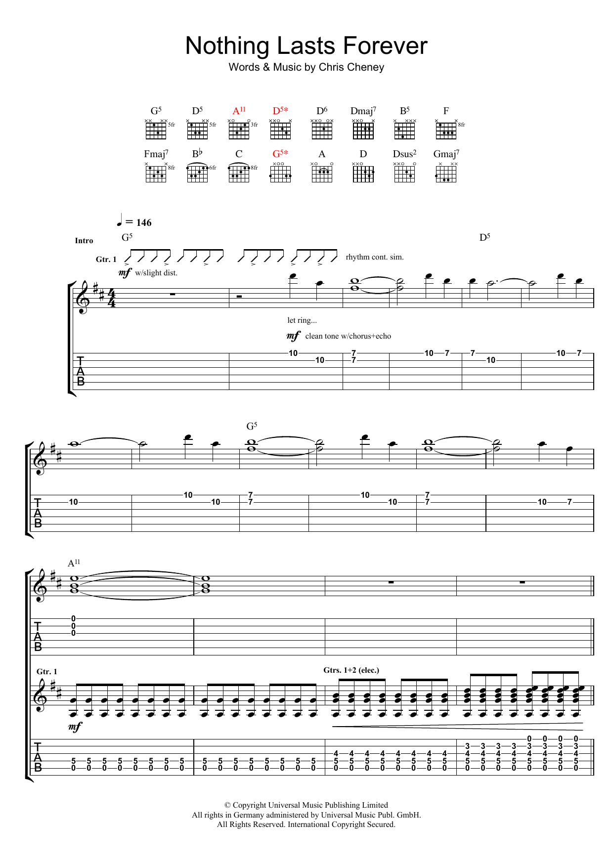 Nothing Lasts Forever Sheet Music
