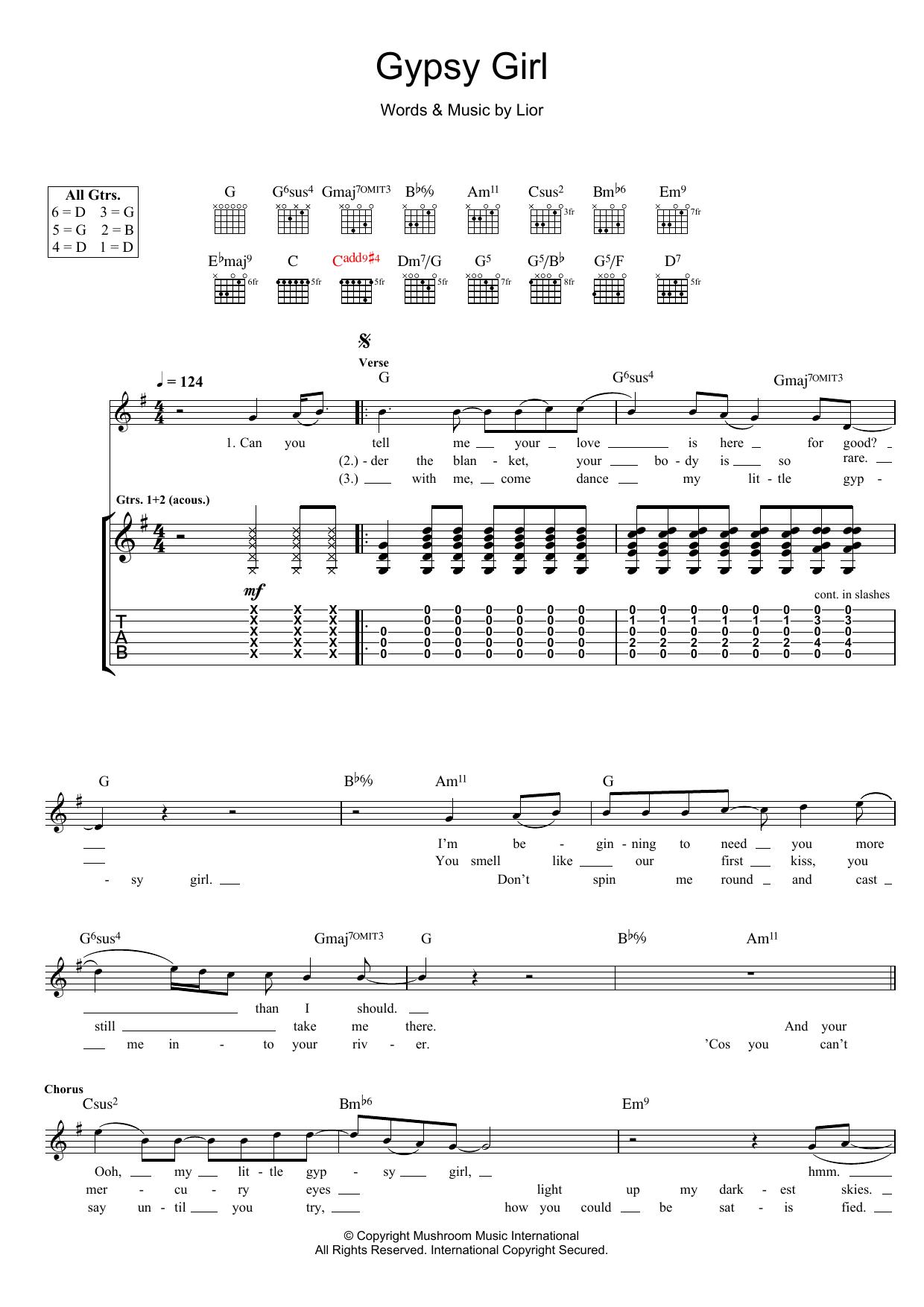 Gypsy Girl (Guitar Tab)