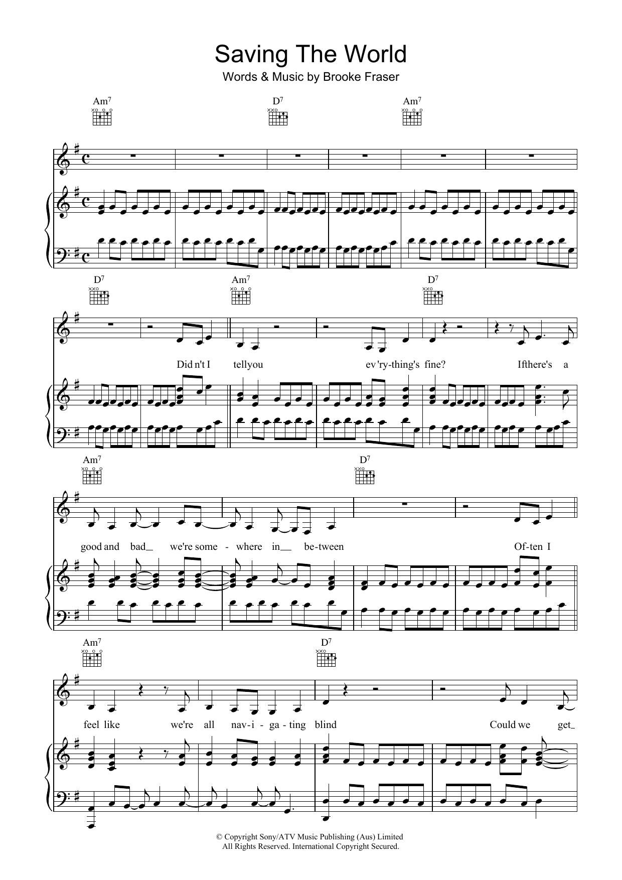 Saving The World (Piano, Vocal & Guitar)