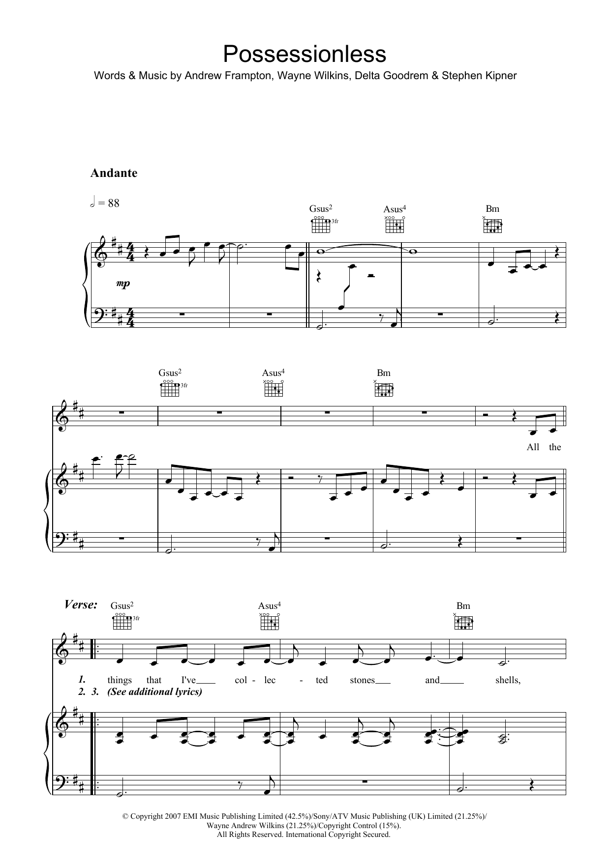 Possessionless Sheet Music