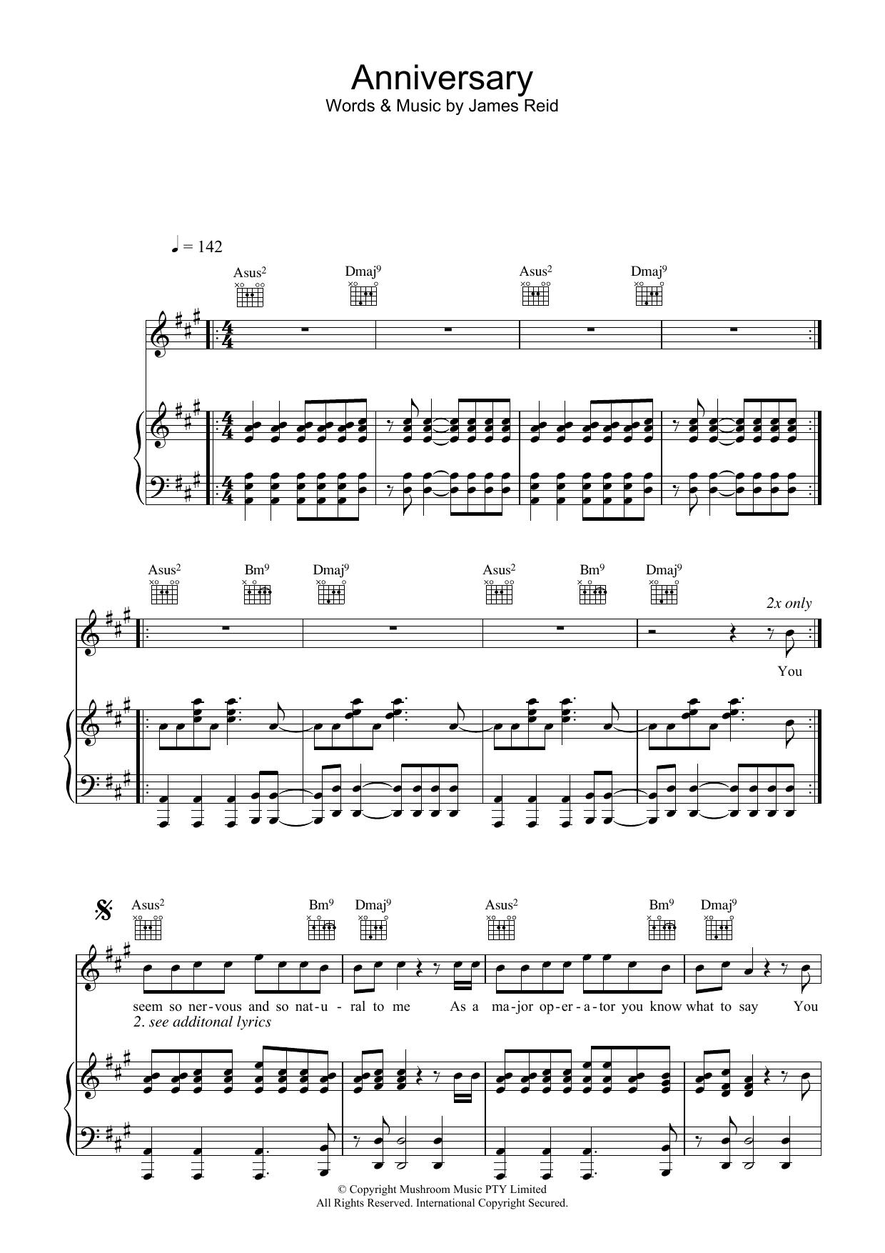 Anniversary (Piano, Vocal & Guitar)