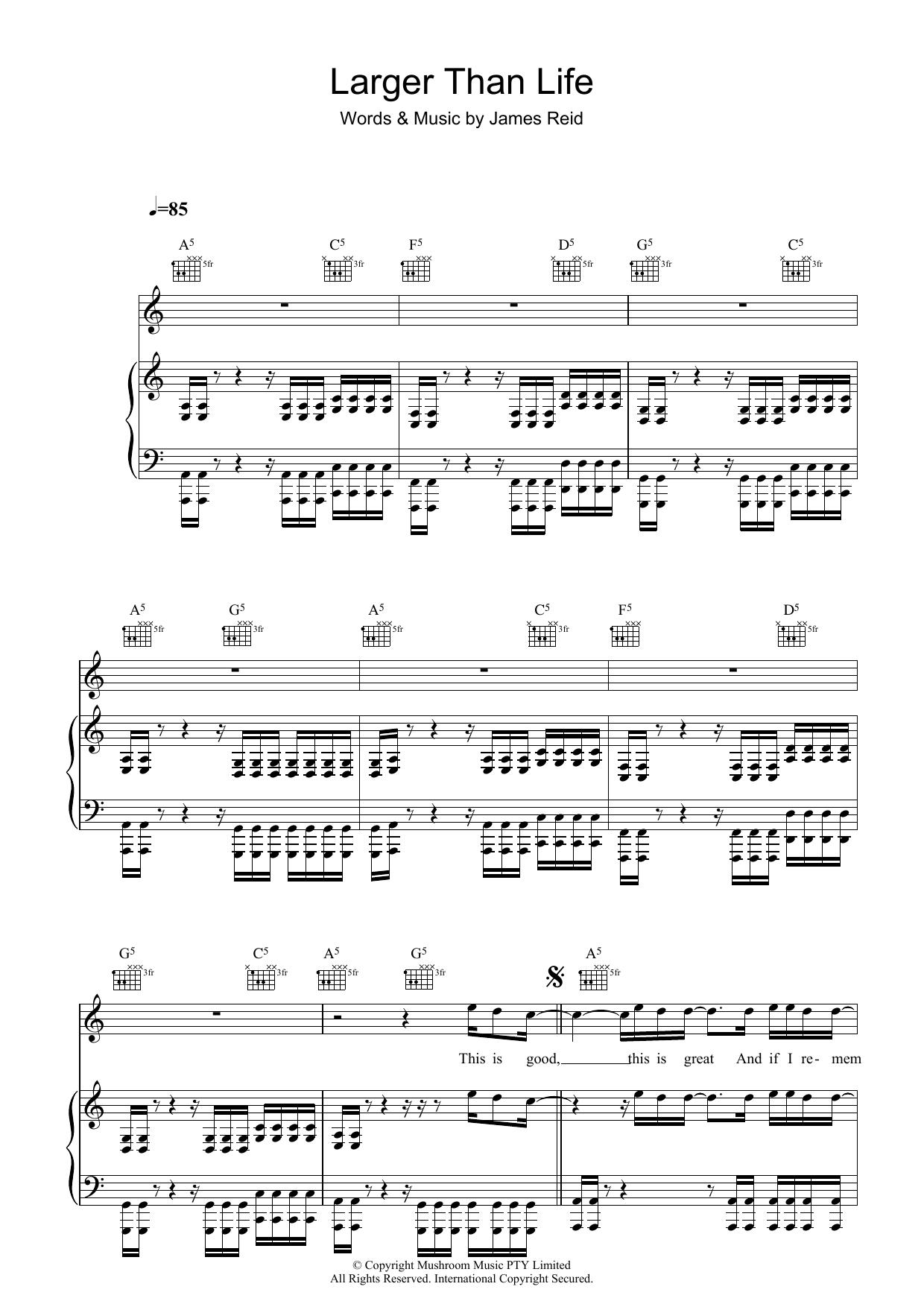 Larger Than Life (Piano, Vocal & Guitar)
