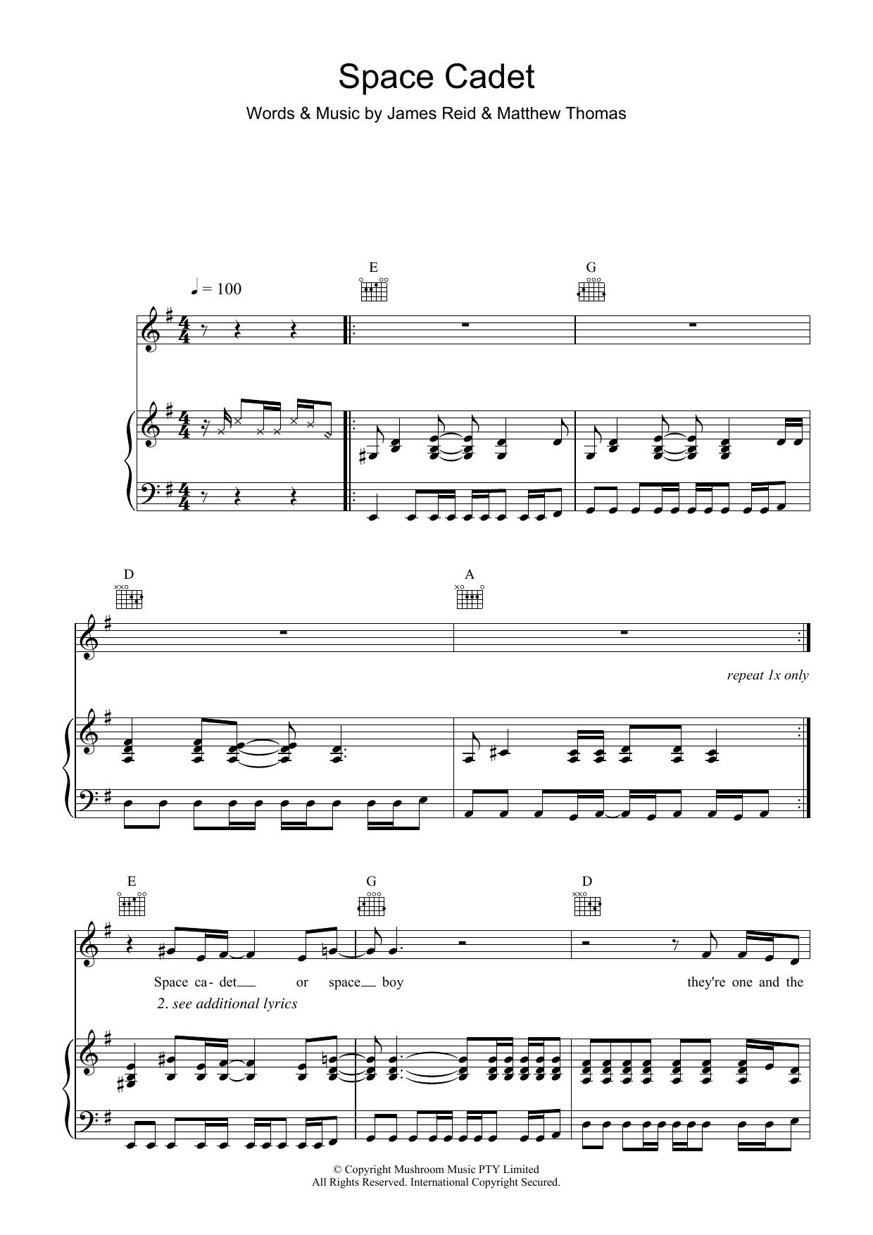 Space Cadet (Piano, Vocal & Guitar)