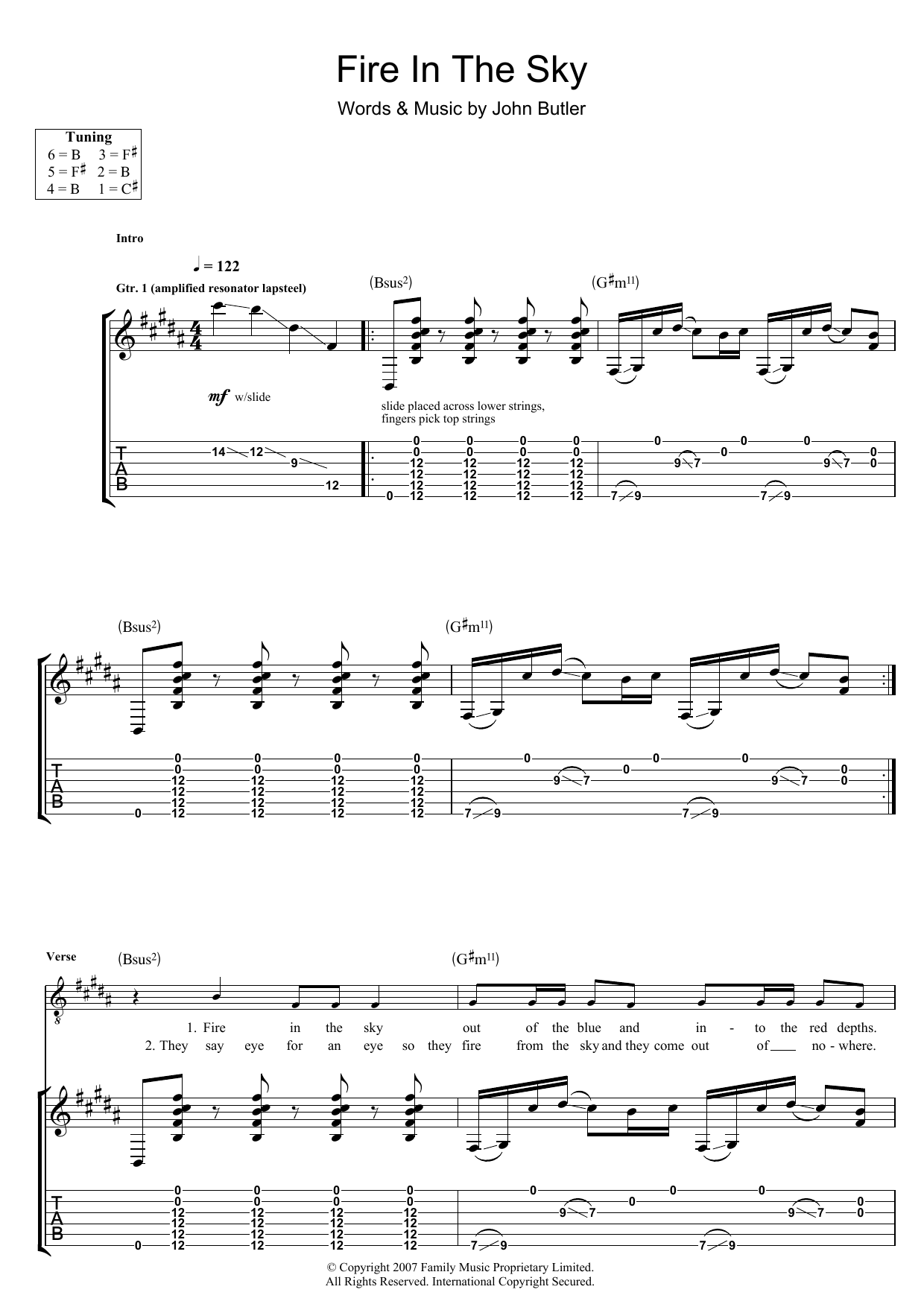 Fire In The Sky (Guitar Tab)