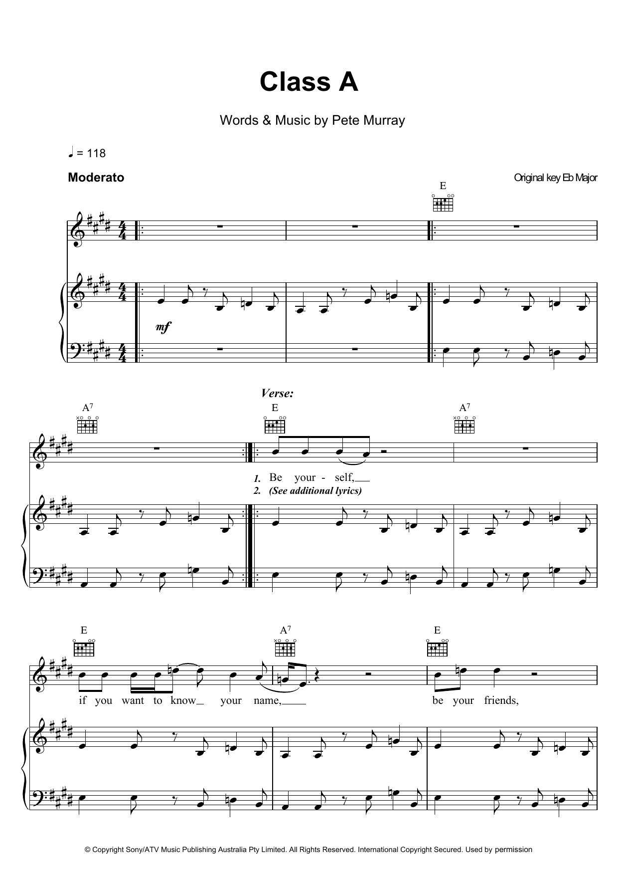 Class A Sheet Music