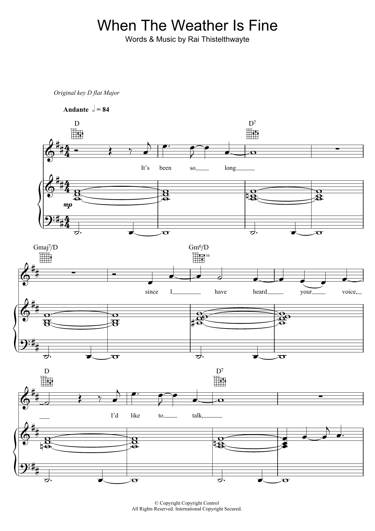 When The Weather Is Fine Sheet Music