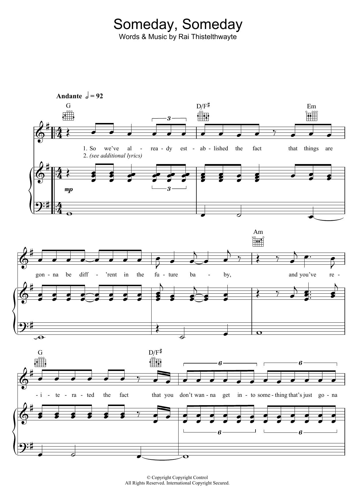 Someday, Someday (Piano, Vocal & Guitar)