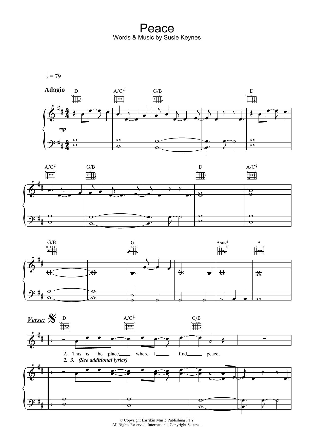 Peace (Piano, Vocal & Guitar)