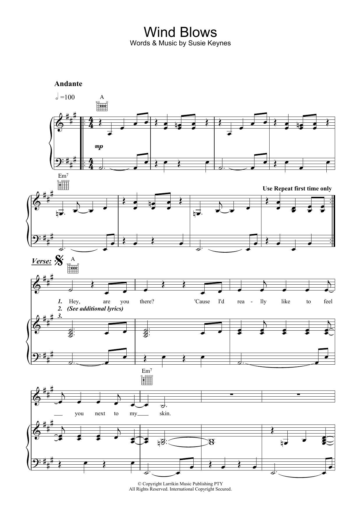 Wind Blows (Piano, Vocal & Guitar)