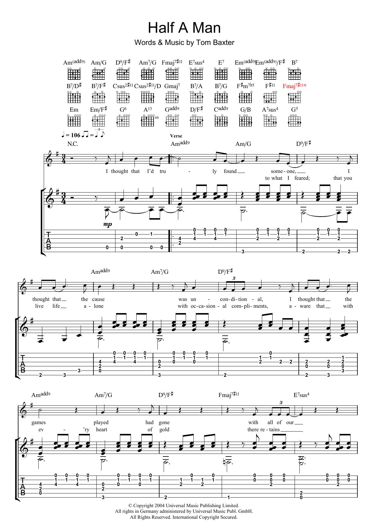 Half A Man (Guitar Tab)