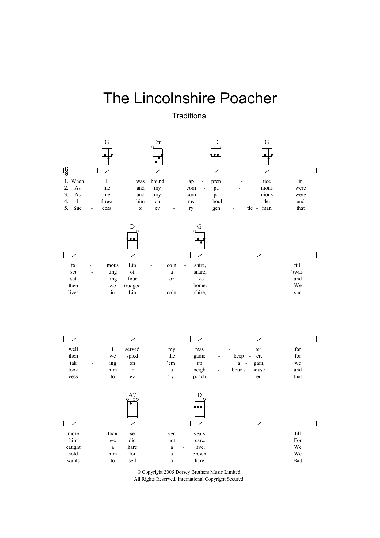 The Lincolnshire Poacher (Ukulele Chords/Lyrics)