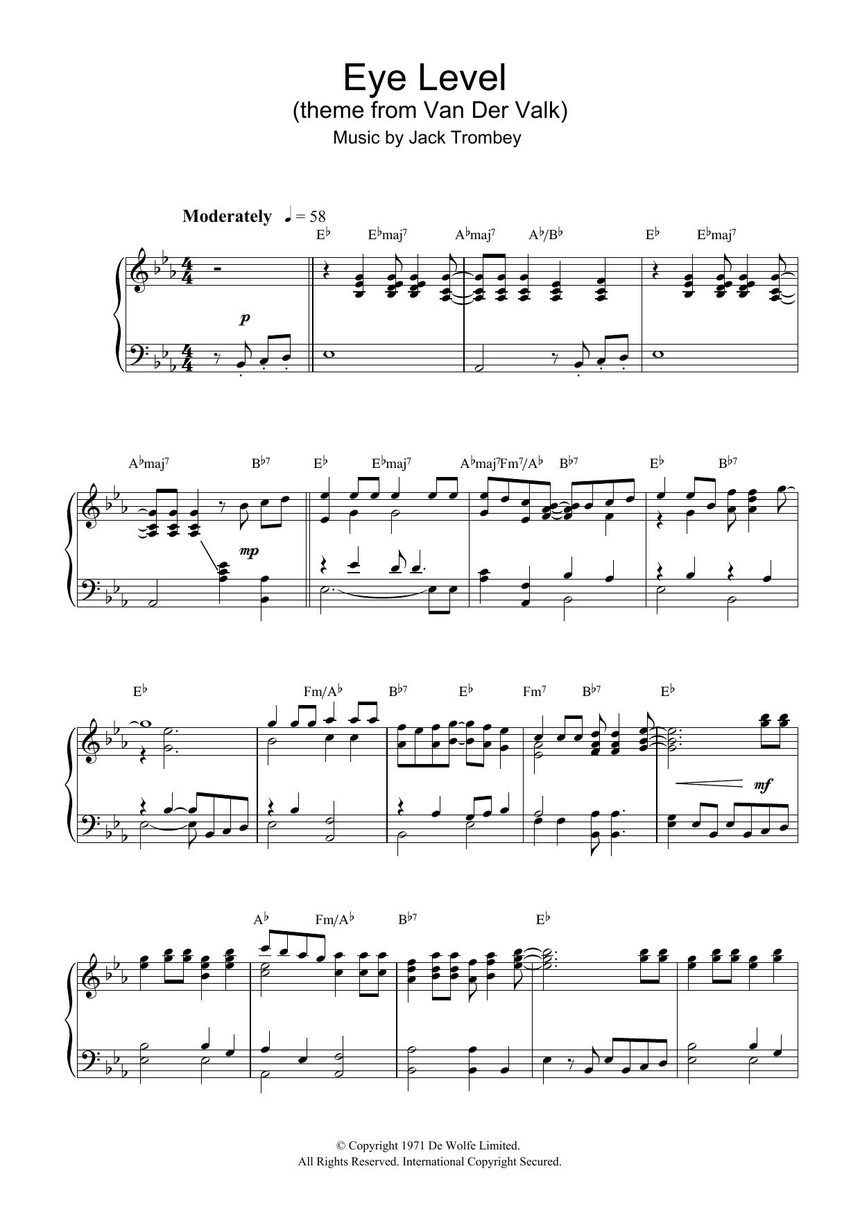 Eye Level (theme from Van Der Valk) Sheet Music