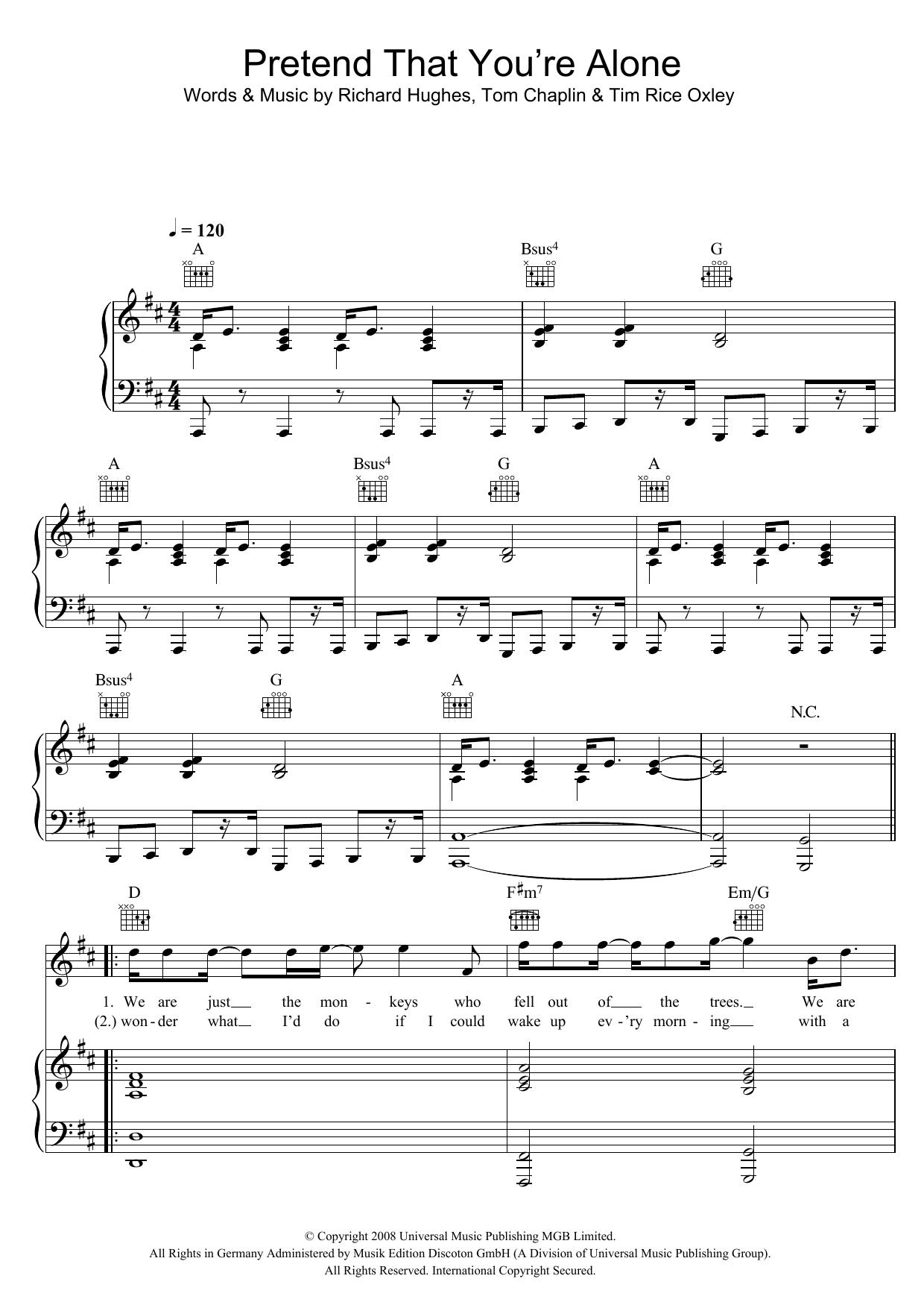 Pretend That You're Alone Sheet Music