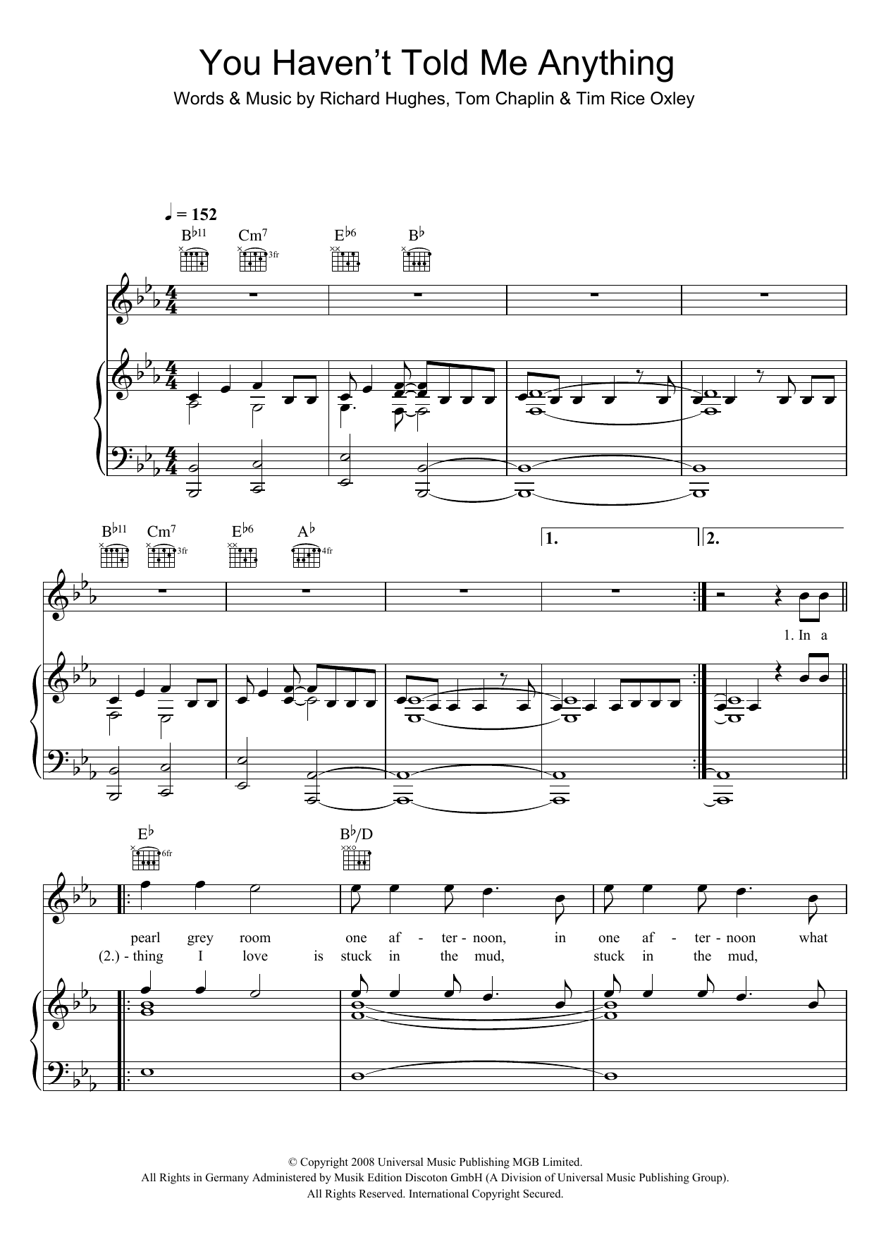 You Haven't Told Me Anything Sheet Music