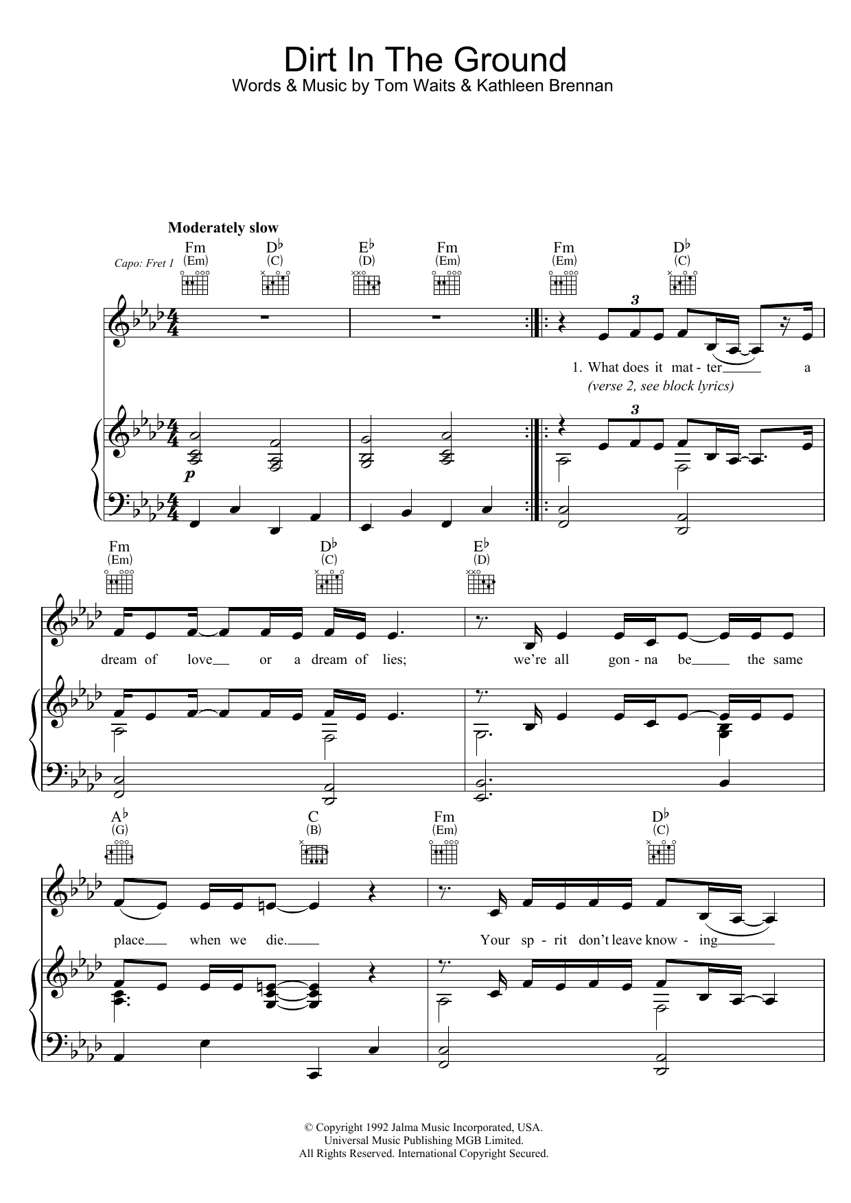 Dirt In The Ground (Piano, Vocal & Guitar)