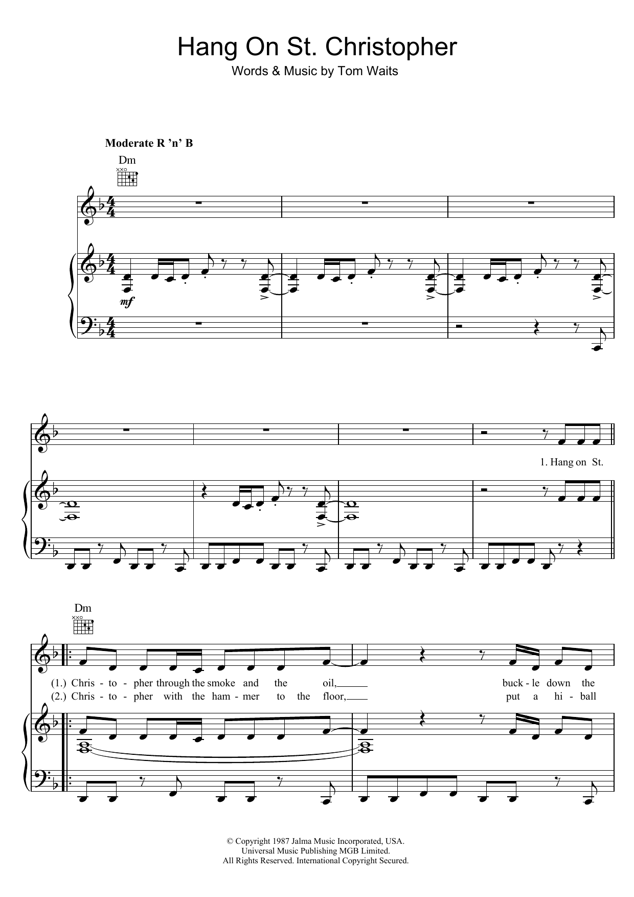 Hang On St. Christopher (Piano, Vocal & Guitar)